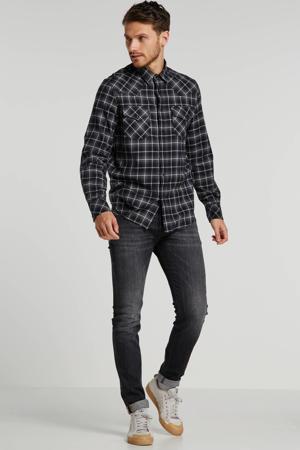 regular fit overhemd met all over print donkergrijs/zwart