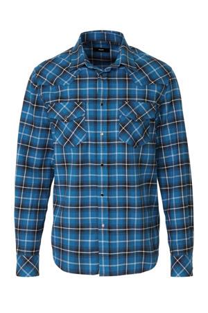 regular fit overhemd met all over print blauw/zwart