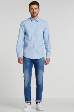 regular fit overhemd met logo lichtblauw