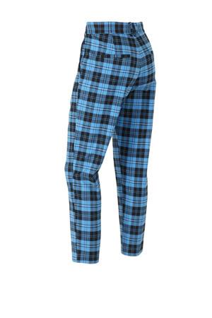 geruite straight fit pantalon blauw