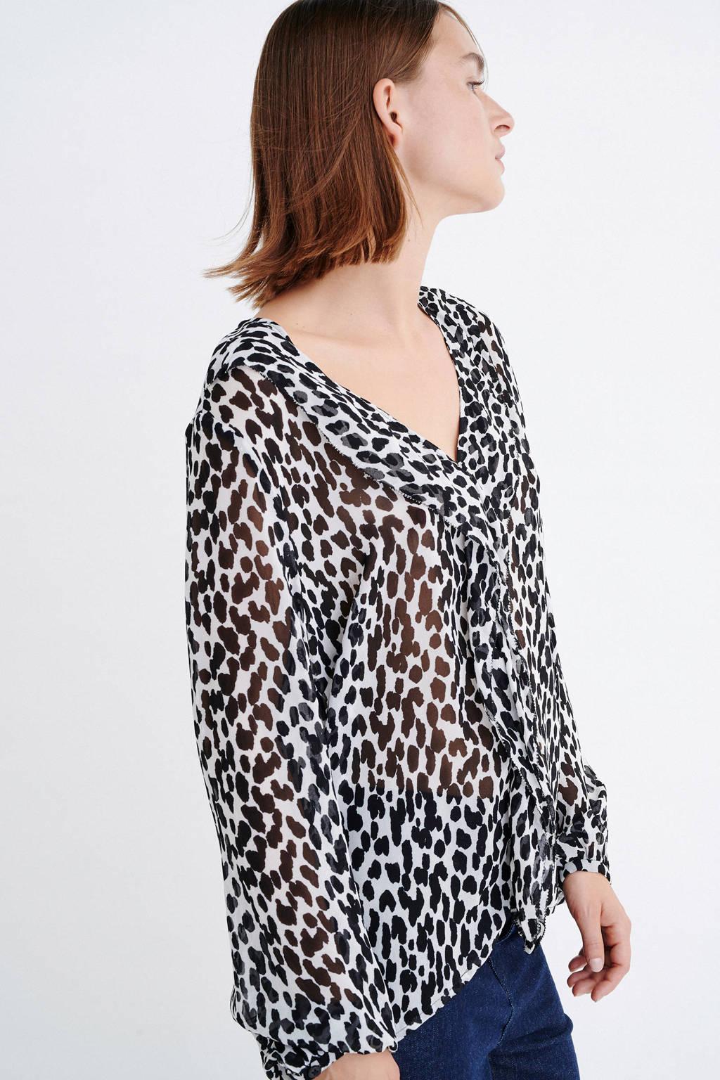 Inwear top met panterprint en volant wit/zwart, Wit/zwart