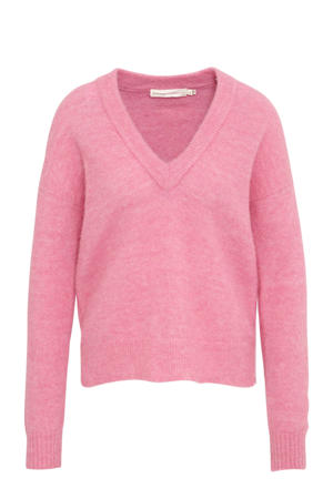 gebreide trui met wol roze