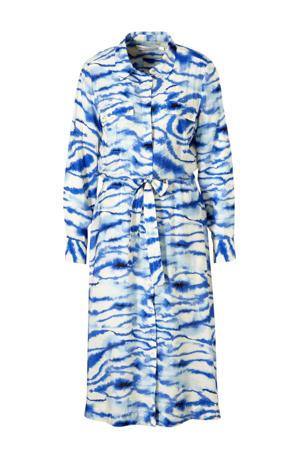 blousejurk met all over print en ceintuur blauw/ecru