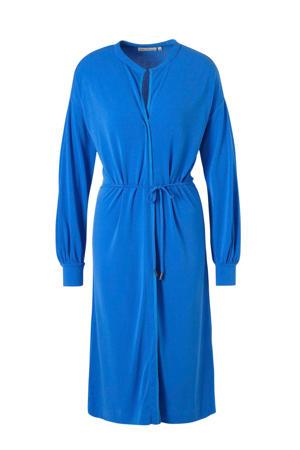 jersey jurk met ceintuur blauw