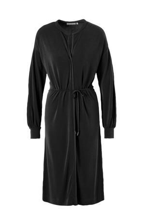 jersey jurk met ceintuur zwart