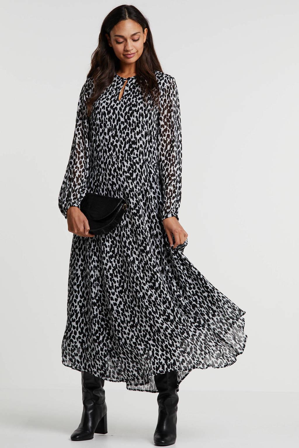 Inwear semi-transparante maxi jurk met all over print wit/zwart, Wit/zwart