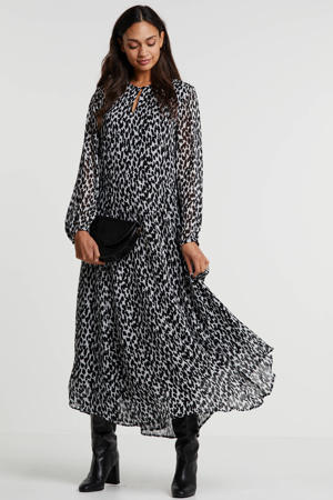 semi-transparante maxi jurk met all over print wit/zwart