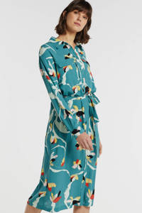 Soaked In Luxury gebloemde blousejurk blauwgroen