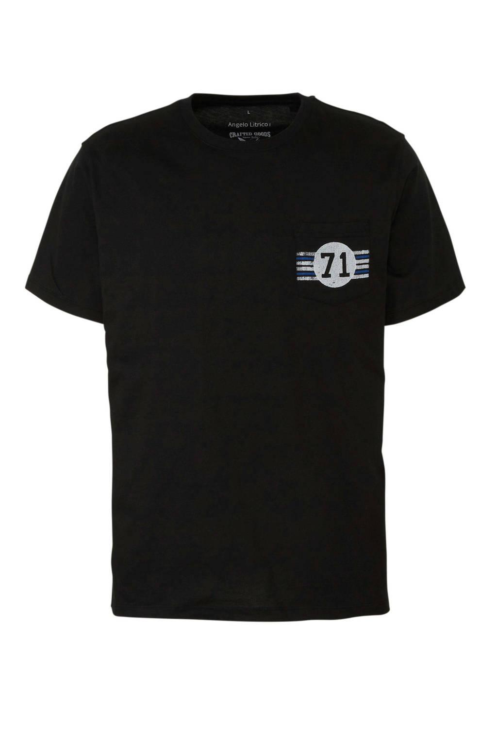 C&A Angelo Litrico T-shirt van biologisch katoen zwart, Zwart