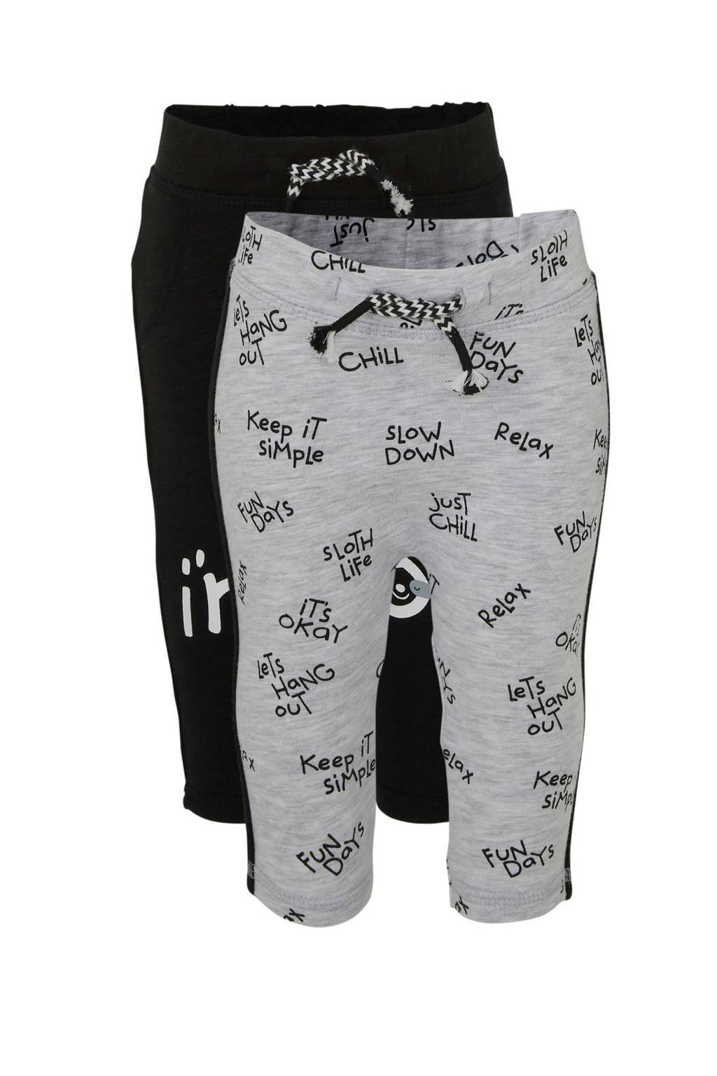 C&A Baby Club broek met tekst zwart/ grijs melange - set van 2