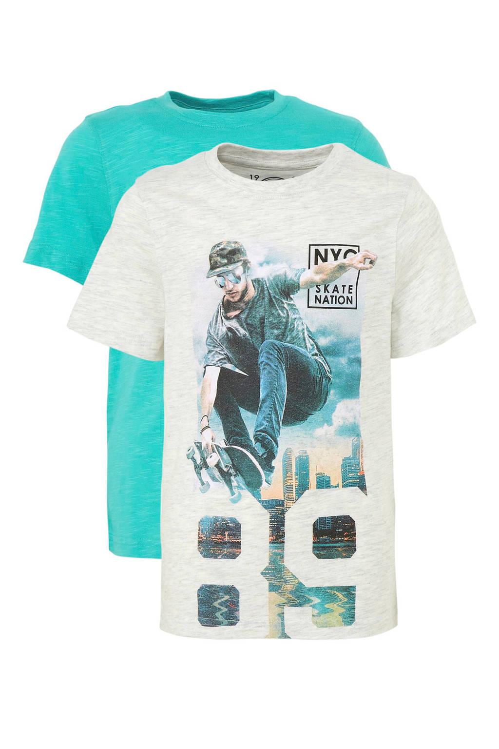 C&A Here & There T-shirt - set van 2, Lichtgrijs melange/ turquoise
