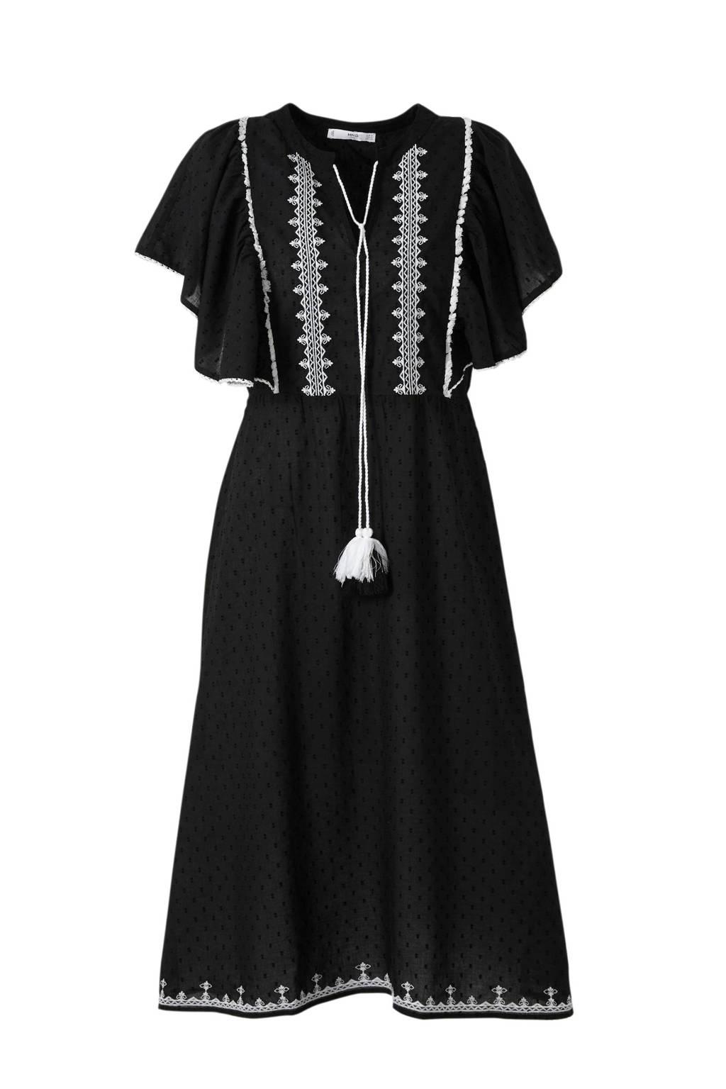 Mango jurk met borduusels zwart, Zwart