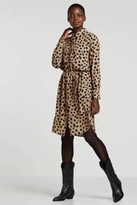 Catwalk Junkie blousejurk met all over print en ceintuur bruin/zwart/roodbruin, Bruin/zwart/roodbruin