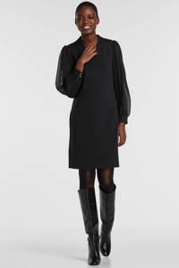 FREEQUENT jersey jurk met mesh zwart, Zwart