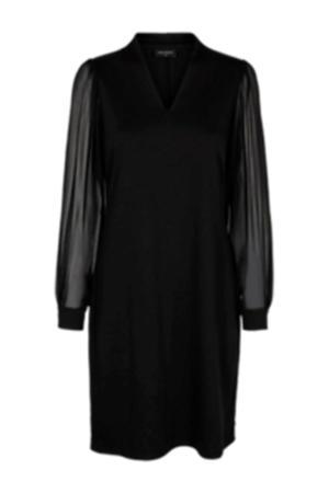 jersey jurk met mesh zwart