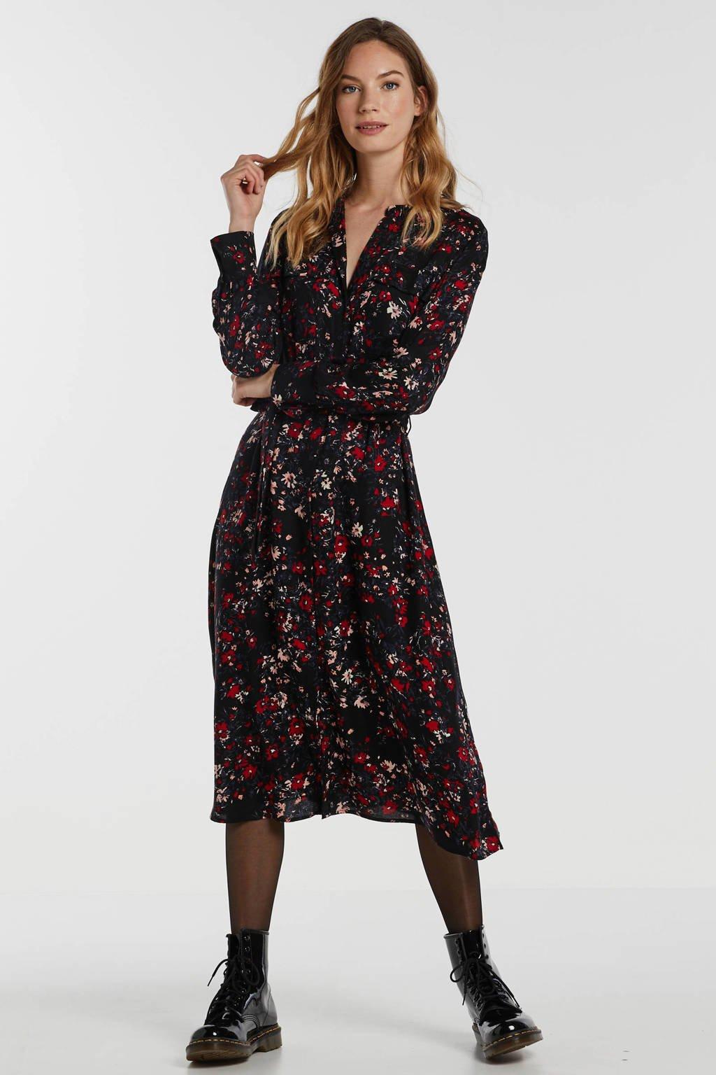 FREEQUENT blousejurk met all over print en ceintuur zwart/donkerblauw/rood, Zwart/donkerblauw/rood