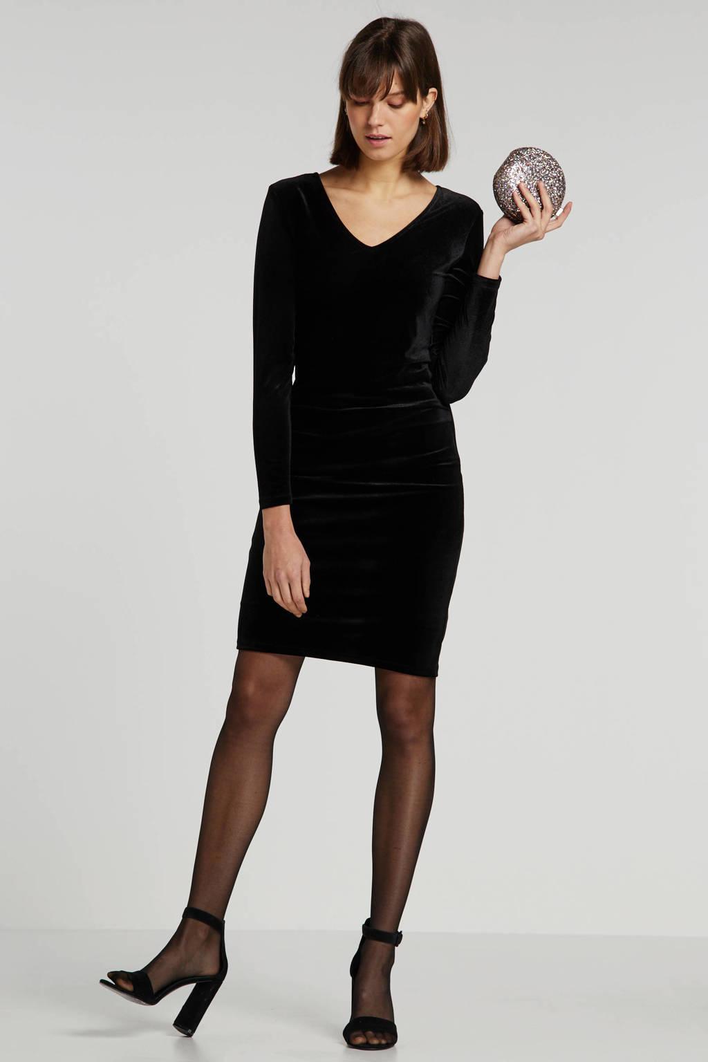 FREEQUENT velours jurk zwart, Zwart