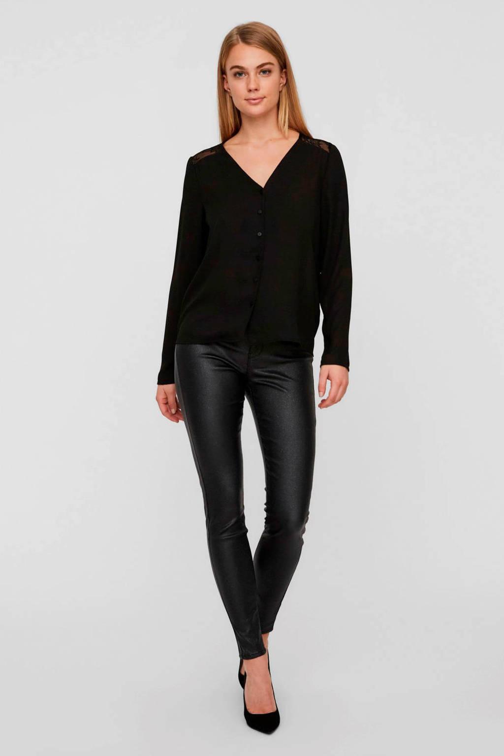 VERO MODA blouse met kant zwart, Zwart