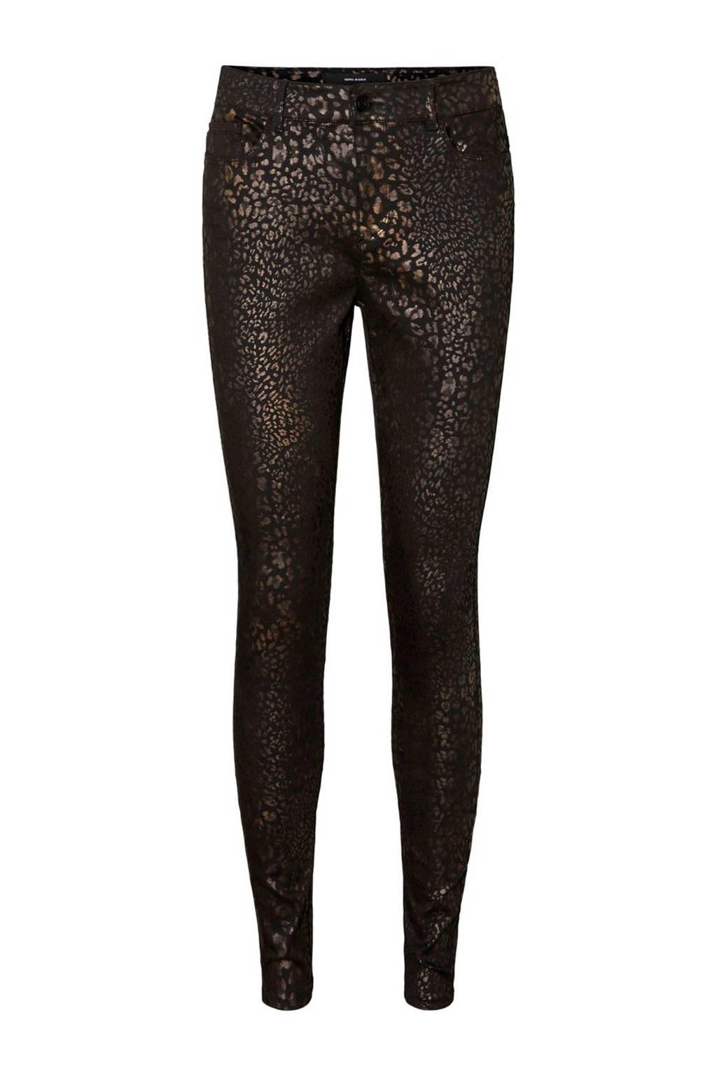 VERO MODA coated skinny broek met panterprint zwart/bruin, Zwart/bruin
