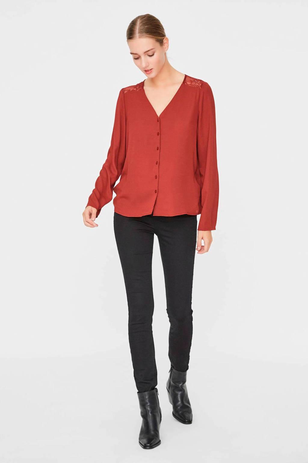 VERO MODA blouse met kant roodbruin, Roodbruin