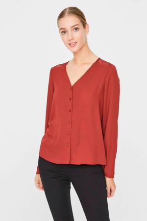 blouse met kant roodbruin