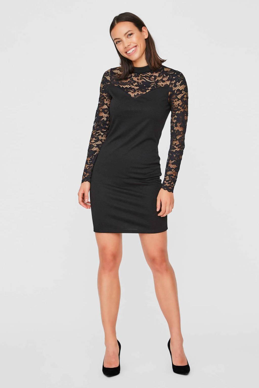 VERO MODA jurk met kant zwart, Zwart