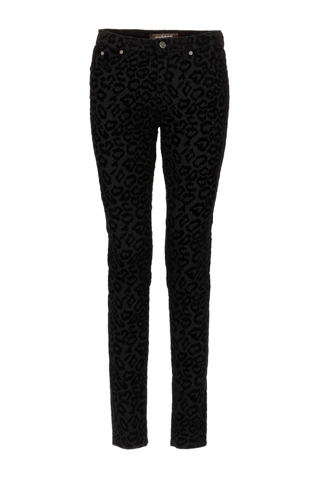 NickJean skinny broek Kathy Flock met panterprint zwart, Zwart