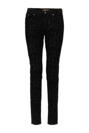 skinny broek Kathy Flock met panterprint zwart