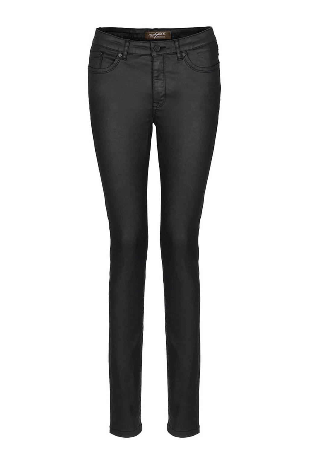 NickJean coated skinny broek zwart, Zwart