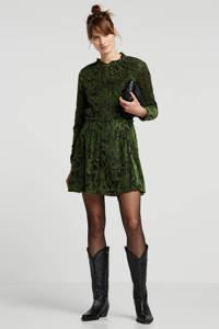Another-Label semi-transparante top met jacquard groen, Groen