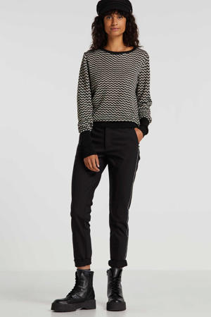 slim fit pantalon met zijstreep zwart