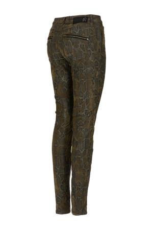 slim fit broek met slangenprint kaki