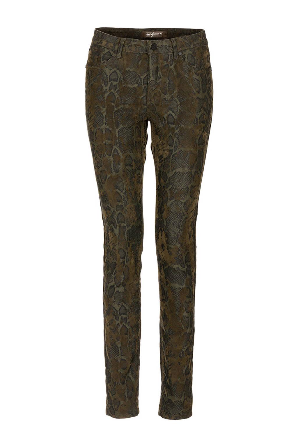 NickJean slim fit broek met slangenprint kaki, Kaki