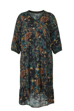 jurk met all over print donkerblauw/geel/multi