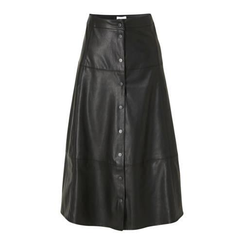 Saint Tropez imitatieleren A-lijn rok zwart