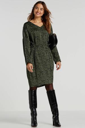 jurk met panterprint en glitters groen/zwart