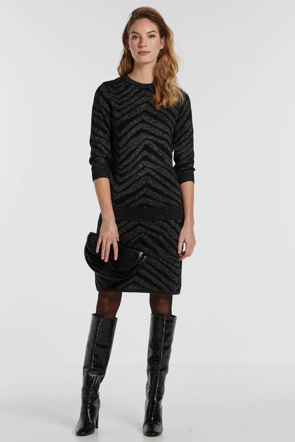 Saint Tropez fijngebreide trui met all over print en glitters zwart/zilver, Zwart/zilver