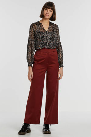 semi-transparante top met all over print en ruches zwart