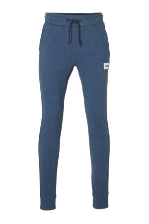 slim fit joggingbroek blauw melange