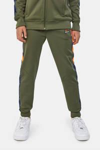 WE Fashion   slim fit joggingbroek met zijstreep donkergroen/oranje/blauw, Donkergroen/oranje/blauw