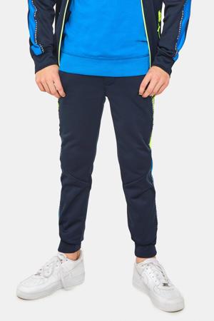 slim fit broek met patches donkerblauw/blauw/neon geel