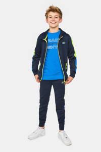 WE Fashion   slim fit joggingbroek met patches donkerblauw/blauw/neon geel, Donkerblauw/blauw/neon geel