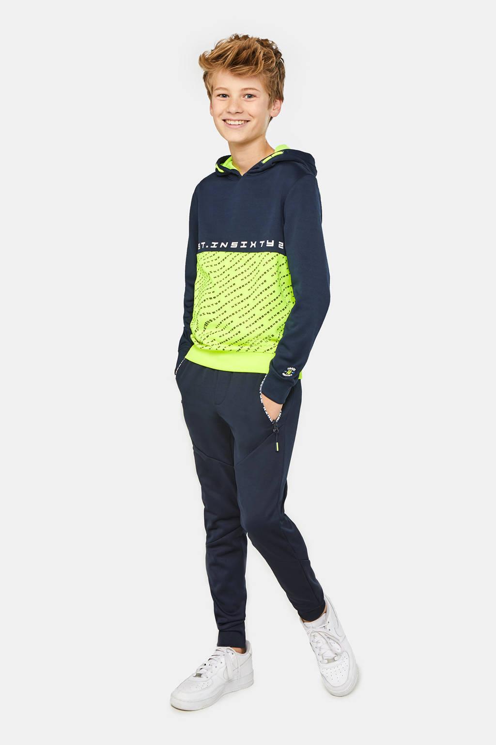 WE Fashion hoodie met all over print donkerblauw/neon geel, Donkerblauw/neon geel