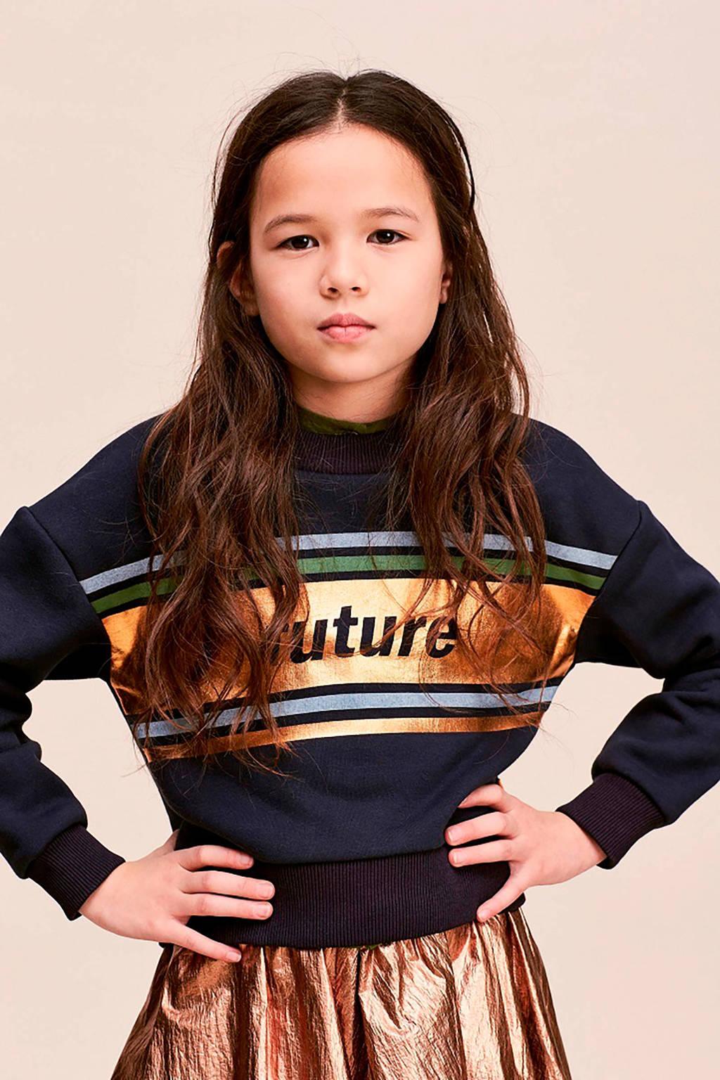 CKS KIDS sweater Ibadan met tekst donkerblauw/goud, Donkerblauw/goud