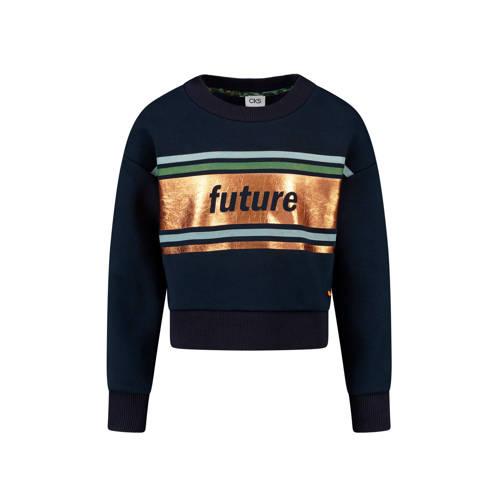 CKS KIDS sweater Ibadan met tekst donkerblauw/goud