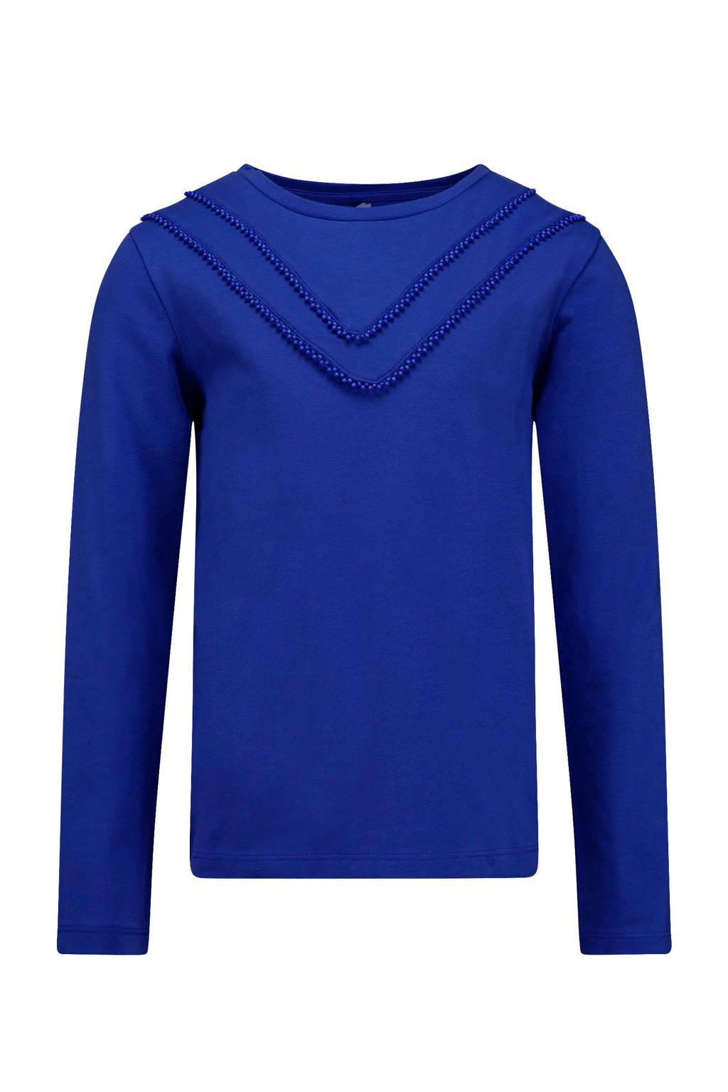 CKS KIDS longsleeve Ivanka met contrastbies kobaltblauw, Kobaltblauw