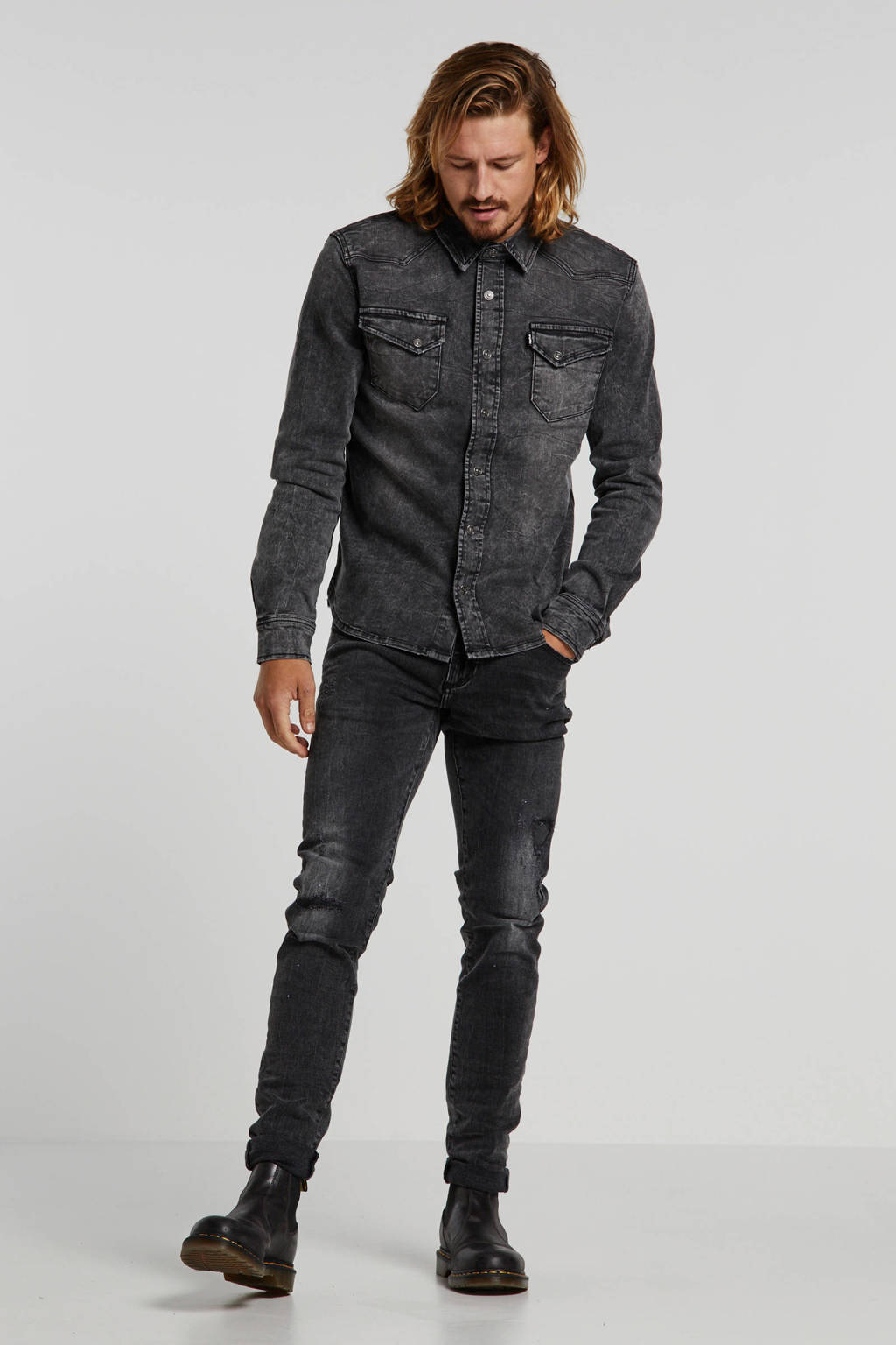 Tigha regular fit denim overhemd grijs, Grijs