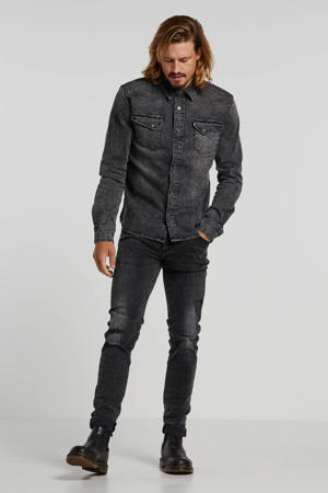 regular fit denim overhemd grijs