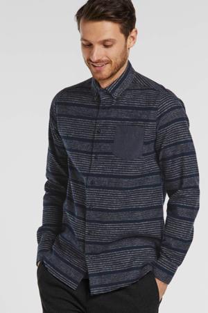 gestreept regular fit overhemd donkerblauw/grijs