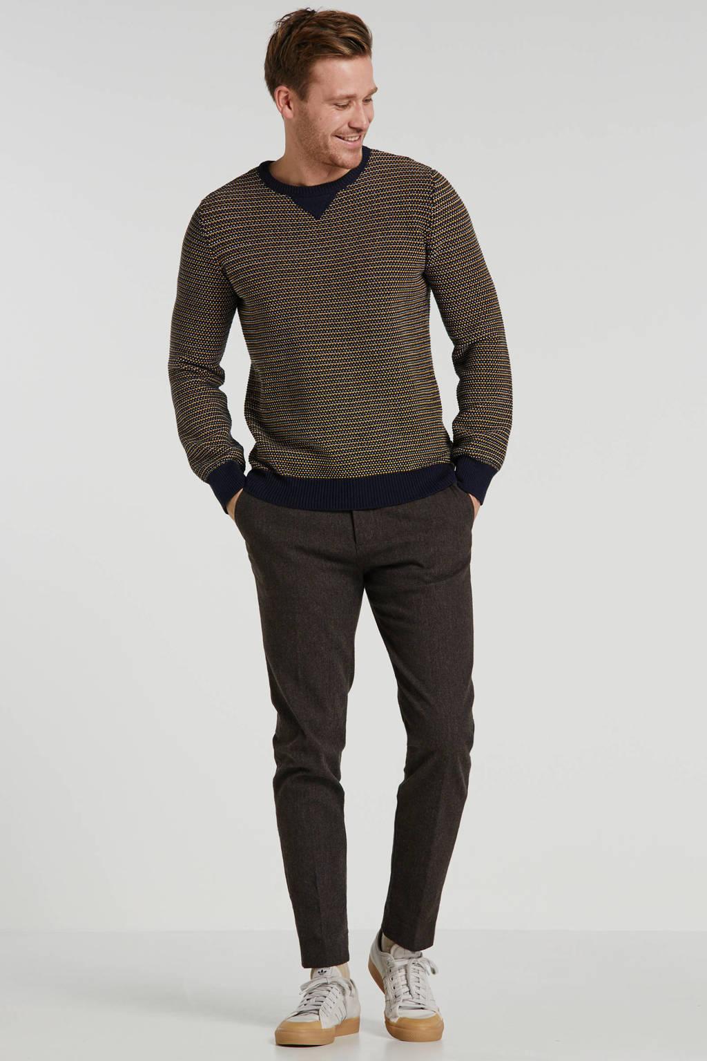 Kultivate trui donkerblauw/geel, Donkerblauw/geel